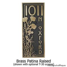 """Vertical Poppy Address Plaque. Vertical Numbers. House address plaque 7.5"""" W x 18"""" H. Made in USA"""