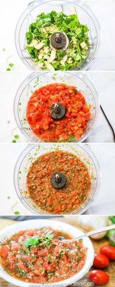 Homemade salsa is so easy, and taste so much better. You only need a few minutes and a couple of ingredients to make a small sized amount or enough to feed a whole crowd. Whole 30 Recipes, Quick Recipes, Side Dish Recipes, Fall Recipes, Cooking Recipes, Healthy Recipes, Dip Recipes, Vegetarian Recipes, How To Make Salsa