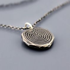Etched Silver Labyrinth Necklace by Lisa Hopkins Design - this I most def want. Lover of labyrinths.