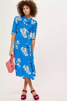 6873b5d4e9a Topshop Cobalt blue floral print midi dress Midi Dresses Uk