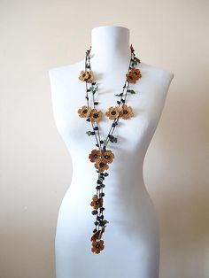 Crochet Necklace  MustardFloral Necklace Crochet Flower