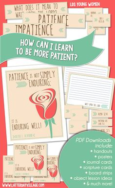 "October YW helps for ""How can I learn to be more patient?"" Much more than just handouts! www.LatterDayVillage.com #LDS #YoungWomen #Mormon"