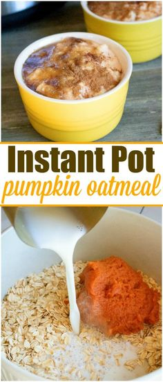 These 2 Instant Pot oatmeal recipes only take 5 minutes to cook and taste amazin. - These 2 Instant Pot oatmeal recipes only take 5 minutes to cook and taste amazing! An easy pressure - Crock Pot Recipes, Gourmet Recipes, Free Recipes, Milk Recipes, Pumpkin Oatmeal, Cinnamon Oatmeal, Apple Cinnamon, Paleo Dessert, Dessert Recipes