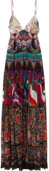 Roberto Cavalli - Printed Silk-georgette Maxi Dress - Purple