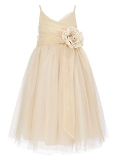 beige tulle layered double straps ankle length flower girl dress