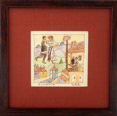 Miniatură în acuarelă și peniță – Nicoleta Mitrache – 126 lei | EliteArtGallery - galerie de artă Lei, Romania, Graphic Art, Baseball Cards, Gallery, Roof Rack