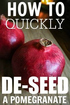 How to quickly and easily de-seed a pomegranate! There really is a better way!  I found this to work after adjusting the directions some. You have to wack it quite a bit to get the seeds to release but this is better than the water method. :)