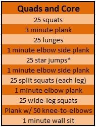 Quads and Core workout