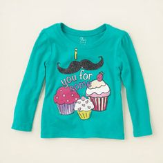 baby girl - graphic tees - mustache cupcakes graphic tee | Children's Clothing | Kids Clothes | The Children's Place