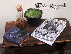 Dollhouse Miniature OOAK Wizards glasses and Spellbook 1:12