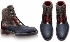 """LOUIS VUITTON SHOE COLLECTION FOR MEN FALL 2014 / THESE DAYS HIGH-END FASHION IS ALL ABOUT MIXING AND BLENDING DIFFERENT MATERIALS TO DELIVER A TREND-SETTING OUTCOME. THE FRENCH HOUSE HAS GIVEN THE CLASSIC DERBY SHOES A NEW MAKOVER SPORTING THE SIGNATURE """"LV"""" PERFORATION ON THE TOE AND THE RUBBER SOLE."""