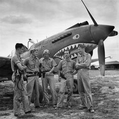American pilots of the units 'Flying Tigers' (The Flying Tigers) Curtiss P-40 Tomahawk in Burma.