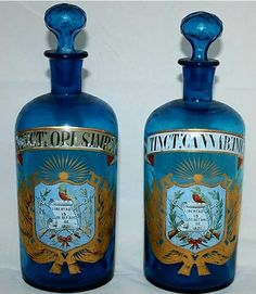 Antique opium and cannabis apothecary bottles