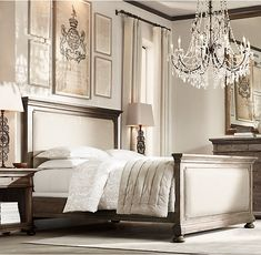 RH's St. James Upholstered Bed with Footboard:Evoking the architectural classicism of turn-of-the-century design, St. James is grand in both scale and beauty.