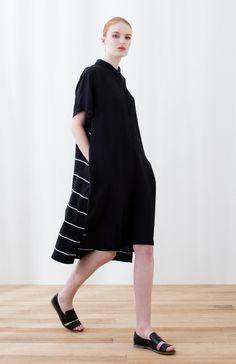 Women's Striped Panel Shirt Dress Model View by Elk The Label