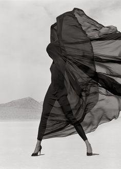 Model: Naomi Campbell | Photographer: Herb Ritts (1990) - Versace Veiled Dress