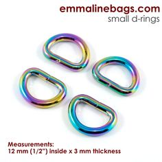 "D-rings:  1/2"" (12 mm) in Iridescent Rainbow (4 Pack)"