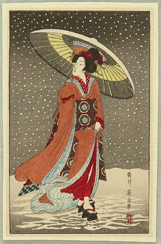 Eizan Kikugawa 1787-1867 - Beauty in the Snow