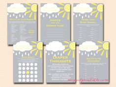 You Are My Sunshine Baby Shower Games, My Only Sunshine, Instant Download,  Tlc112