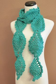 Turquoise Crochet Scarf Women's Chunky Lace Pineapple Motif