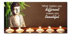 """Buddha Canvas Ledlighted Art - Beautiful Led verlichting met Blow on/off. """"What make you different, makes you Beautiful"""""""