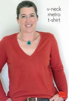 Modify the Liesl + Co. T-shirt into a V-neck