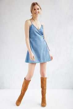 683633f94c MINKPINK Rodeo League Mini Denim Wrap Dress - Urban Outfitters University  Outfit