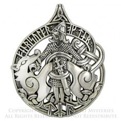 """Tyr is the god of justice and right action in Norse mythology, portrayed as a one-handed man. He sacrificed his hand to the Fenris Wolf to protect his people and fellow Gods. The runes say """"Tyr and Fenris Wolf"""" in Old Norse:""""TYR OK FENRISULFR.""""   Created by Dryad Design, who specializes in Norse / Heathen / Asatru jewelry"""