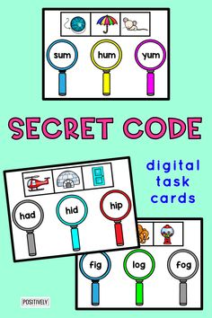 Secret Code Digital Task Cards - Can you solve the CVC words? Add this set of 30 digital Boom Learning Cards to your daily practice and Guided Reading word work centers. All the cards are self-checking for immediate feedback.