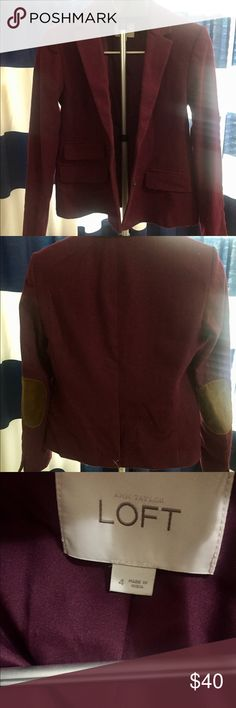 LOFT Burgundy Blazer with Elbow Patches Super cute burgundy blazer with tan elbow patches. I'm assuming I never got around to wearing this since the white threads in the back were never clipped or removed! LOFT Jackets & Coats Blazers