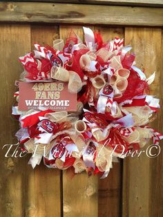 Hey, I found this really awesome Etsy listing at https://www.etsy.com/listing/190738726/san-francisco-49ers-wooden-sign-wreath