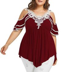 2019 Summer Womens Plus Size Blouses Streetwear Cold Shoulder Lace Tops Tunic Ladies Top Casual Clothing Plus Size Blouses, Plus Size Dresses, Plus Size Outfits, Dresses Dresses, Casual Dresses, Black Cold Shoulder Top, Plus Size Kleidung, Lace Tops, Plus Size Women