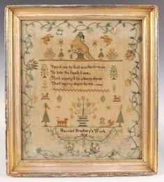 """Needlepoint sampler dated 1818, """"Harriot Bradney's Work"""""""