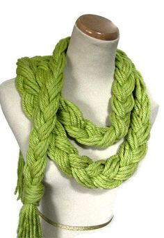 braided scarf.  All this is is braided yarn. but make with thicker/softer yarn...