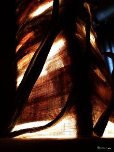 BoGaLeCo.com / Lumières / Lampes / Bois flotté / Lampe  Khaïma journal  Lampe sur une base en bois de récupération, des bois flotté disposés en rectangle se positionnent verticalement. Habillée d'une couche de journal recyclé et de tissu cotonnette fin, la lampe est agrémentée de branches d'algues séchées très dures. La construction est inspirée d'habitations traditionnelles de pays désertiques. Jolie ambiance feutrée au programme.  Bois : Bois flotté récupéré sur une plage du Finistère sud…