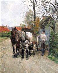 Boer met kar en twee paarden by Frans van Leemputten