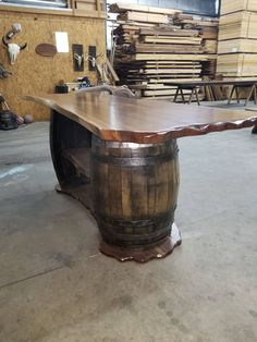 When setting up a basement bar there are some must have items you must have around or your basement bar won't really be a bar but just a basement pretending to be. Wine Barrel Bar, Whiskey Barrels, Wine Barrel Furniture, Bar Furniture, Furniture Design, Table Baril, Tonneau Bar, Barrel Projects, Man Cave
