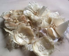 Satin Linen and Lace Fabric Flower by RhysandRaesCreations on Etsy, $29.50
