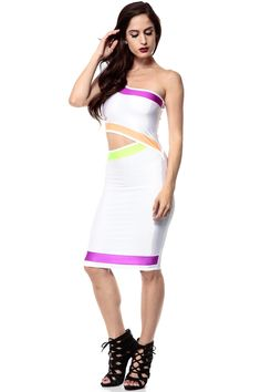 White Neon Contrast One Shoulder Cut Out Midi Dress @ Cicihot sexy dresses,sexy dress,prom dress,summer dress,spring dress,prom gowns,teens dresses,sexy party wear,ball dresses