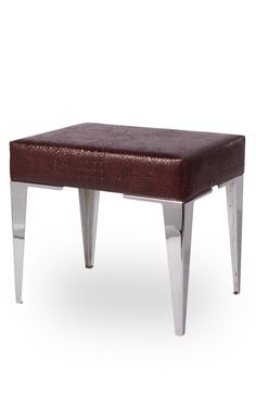 Dressing Table Stool, Designer Brown Crocodile & Chrome Stool, so glamorous, one of over 3,000 limited production interior design inspirations inc, furniture, lighting, mirrors, tabletop accents and gift ideas to enjoy repin and share at InStyle Decor Beverly Hills Hollywood Luxury Home Decor enjoy & happy pinning