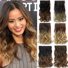 """Available now, you should get these 24"""" 60cm Wavy Curly Weaves Clip In Hair Extensions 5 Clips De Cheveux Ombre Dip Dye Hair One Piece Hair Extention Free Ship B40"""