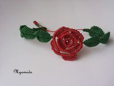 Red rose bracelet / free shipping by Albumita on Etsy