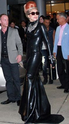 Lady gaga in floor length rubber dress