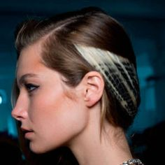 Zebra-print hair and graphic, black eyeliner at Rodarte SS14
