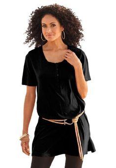 Roamans Plus Size Henley Max Tunic - List price: $30.99 Price: $11.99 Saving: $19.00 (61%)