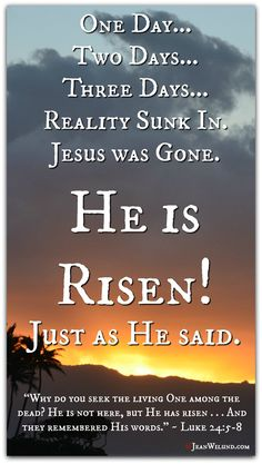 He is Risen Just as He Said! (Music Video Arise My Love by Newsong) via www.JeanWilund.com