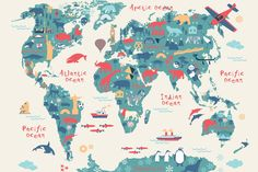 Explorer Kids World Map Mural, custom made to suit your wall size by the UK's No.1 for murals. Custom design service and express delivery available.