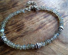 Labradorite and sterling silver bracelet Mineral by Unics on Etsy, $33.00