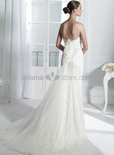 NICOLE - Sheath Strapless Watteau train Lace Wedding dress