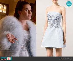 Hester's blue floral embellished dress on Scream Queens - Marchesa Notte Sequin Embellished Bandeau Dress worn by Hester Ulrich (Lea Michele) on Scream Queen - Scream Queens Costume, Scream Queens Fashion, Yes To The Dress, Dress Up, Fashion Tv, Fashion Outfits, Beautiful Dresses, Nice Dresses, Chloe